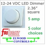12 volt Dimmer (9-30v dc)- Low voltage rotary dimmer, 5 amps, model EF1206