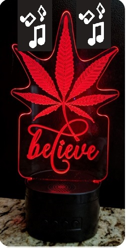 Believe in Medical Cannabis Portable Bluetooth Speaker with 3D Illusion Audience Light
