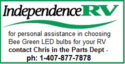 Independence RV offers Bee Green RV LED Bulbs