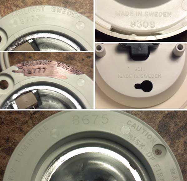 Frilight part number engraving on light fixtures