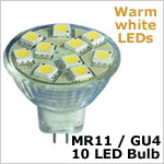 12 volt AC LED Bulb (ac-dc), MR 11 GU4, WARM white, 127 lumens