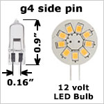 12 volt LED Bulbs - G4 Side Pin LED Bulbs