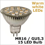 12 volt AC LED Bulb (ac-dc), MR 16 GU5.3, WARM white, 173 lumens