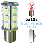 12 Volt LED light Bulbs (10-30vdc), ba15s Single Bayonet base, COOL white, 250 lumens