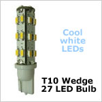 12 volt AC LED Bulb (ac-dc), T10 wedge tower 921, COOL white, 107 lumens