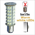 12 Volt LED light Bulbs (10-30vdc), ba15s Single Bayonet base, WARM white, 300 lumens