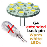 12 Volt LED light bulb with extended back pin