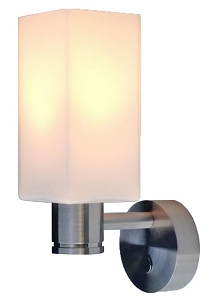 12 volt LED Wall Light (10-30vdc) - Beyla aluminum wall sconce with rectangular Glass Shade and built-in soft touch Dimmer/On-Off Switch