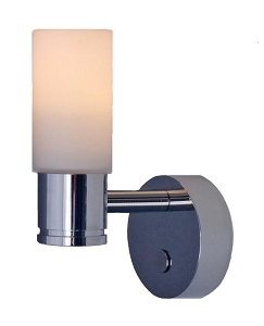 12 volt LED Wall Light (10-30vdc) - Piper aluminum wall sconce with round (cylindrical) Glass Shade and built-in soft touch Dimmer/On-Off Switch