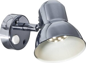 12 volt LED Reading Light (10-30vdc): FriLight 8400 Classic metal fixture with round base, rocker switch, Multiple LED choices - see LED Detail.