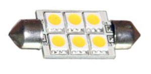 12 Volt LED light Bulbs (10-30vdc), Festoon 12 Volt LED light Bulbs, WARM white, 89 lumens