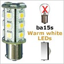 12 Volt LED light Bulbs (10-30vdc), ba15s Single Bayonet base, WARM white, 212 lumens