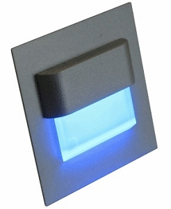 12 volt courtesy LED Step - Recess Courtesy Light aluminum with blue LED