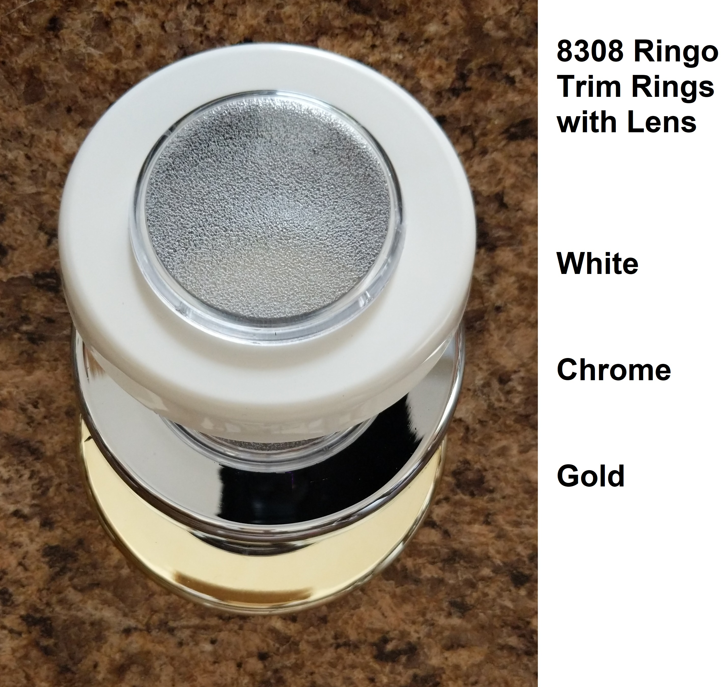 Trim Ring with Lens - Replacement Ringo 8308 by Frilight, white, chrome or gold color options