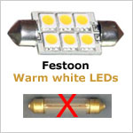 12 Volt LED light Bulbs (10-30vdc), Festoon 12 Volt LED light Bulbs, WARM white, 120 lumens