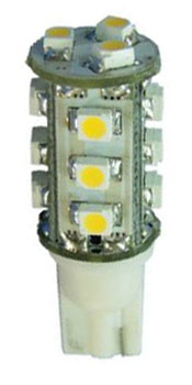12 Volt LED light Bulbs (10-30vdc), T10 wedge 921 12 Volt LED light Bulbs, WARM white, 148 lumens
