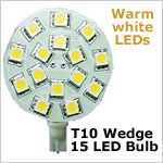 12 Volt LED light Bulbs (10-30vdc), T10 Wedge Round PCB 921 12 Volt LED light Bulbs, WARM white, 197 lumens