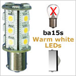 12 Volt LED light Bulbs (10-30vdc), ba15s Single Bayonet base, WARM white, 286 lumens