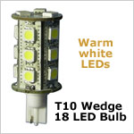12 Volt LED light Bulbs (10-30vdc), T10 wedge tower 921 12 Volt LED light Bulbs, WARM white, 231 lumens