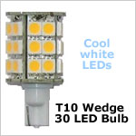 12 Volt LED light Bulbs (10-30vdc), High Power T10 wedge 921 12 Volt LED light Bulbs, COOL white, 420 lumens