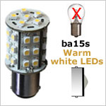 12 Volt LED light Bulbs (10-30vdc), ba15s Single Bayonet base, COOL white, 180 lumens