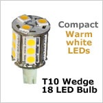 12 Volt LED light Bulbs (10-30vdc), T10 Compact Wedge 921 LED bulb, WARM white, 182 lumens