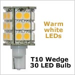 12 Volt LED light Bulbs (10-30vdc), High Power T10 wedge 921 12 Volt LED light Bulbs, WARM white, 406 lumens
