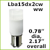 12 Volt LED light Bulbs (10-30vdc), ba15d Double Bayonet base, Cool White, 190 Lumens