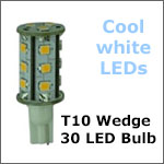 12 Volt LED light Bulbs (10-30vdc), T10 Wedge 921 12 Volt LED light Bulbs, COOL white, 323 lumens