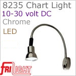 12 volt LED Chart Light (10-30vdc) - FriLight 8235 Chart Light with flexible chrome arm, switch, see bulb detail for LED choices. For Boat or RV.