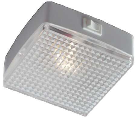 12 volt LED Utility Light (10-30vdc) - FriLight 8611 Square Light with rocker Switch, Multiple LED choices - see Bulb detail.