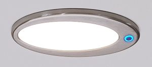 Elipse 12 volt LED Dome Lights (10-30vdc) - Ceiling Hugger 462 lumens, with soft touch dimmer and blue LED night light. Satin nickel or chrome.