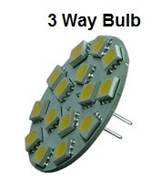 3-way 12 Volt LED light Bulb, g4 extended back bi pins, (10-30vdc), switch to dim, WARM white, 270/220/55 Lumens