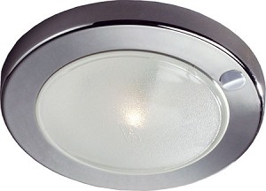 12 volt LED Light (10-30vdc) - Saturn 8716 Surface mount with Switch, WHITE or Chrome, Multiple LED choices - see LED Detail.