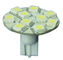 12 Volt LED light Bulbs (10-30vdc), T10 wedge back entry 921 12 Volt LED light Bulbs, COOL white, 190 lumens