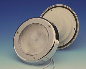 12 Volt Ceiling Light / Courtesy Light: FriLight 8990 Targa, IP64 water resistant recess mounted courtesy light, with 12 Volt 10 watt Xenon bulb